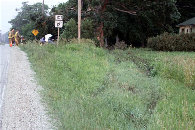 The scene of a fatal crash today at Highways P and Z in Randall./ Earlene Frederick photo