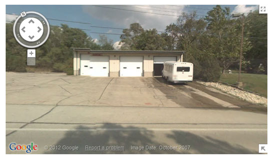 This Google Streetview shows the old Bassett fire station where Western Kenosha County transit buses are stored.