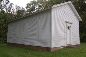An exterior view of the old Bristol Town Hall along Highway C in Bristol Woods County Park.