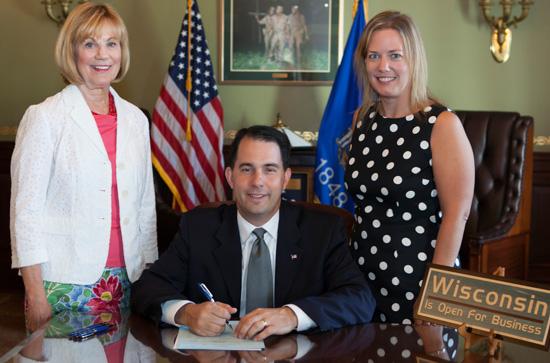 (From left) Sen. Alberta Darling, Gov. Scott Walker, Rep. Samantha Kerkman. /Contributed photo