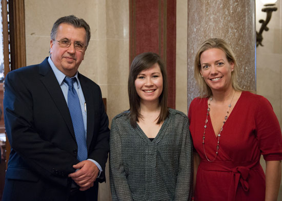 (From left) Rep. Tod Ohnstad (D-Kenosha) , interna dn Wilmot Union High School grad Caroline Russell and  Rep. Samantha Kerkman (R-Randall) . /Submitted photo