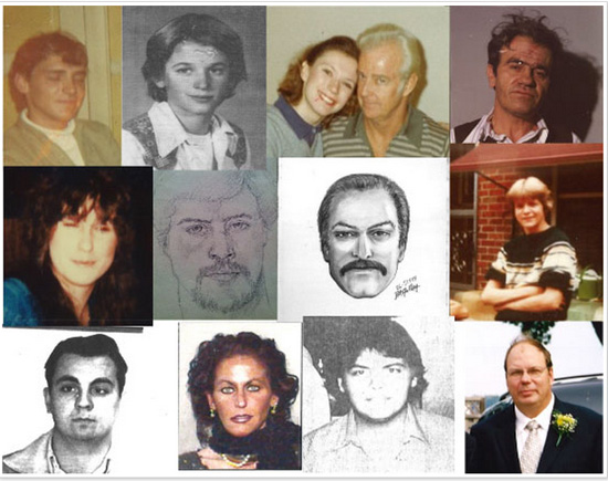 Photos/sketches of the 14 individuals involved in the cold cases featured on the Kenosha County Sheriff's Department website.