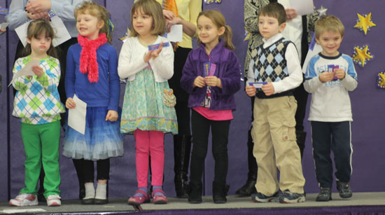 Emily Craven, Isabella Derler, Amelia Dufek, Haley Fell, Isaac Lee and Matthew Pagoria receive Kindergarten awards. /Submitted photo