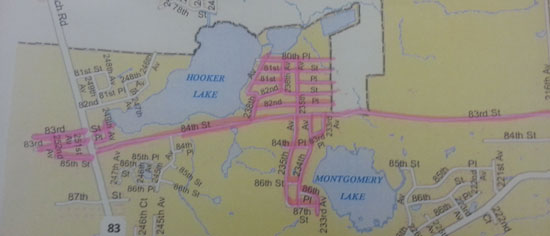 The Salem Oaks/Montgomery Lake routes.