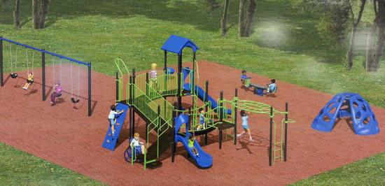 /A rendering of the playground equipment purchased for Salem Oaks Park.