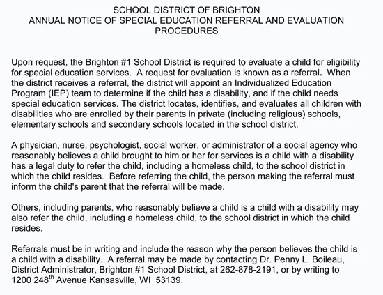 brighton-school-notice-1-Special-Education-Required-for-Referrals