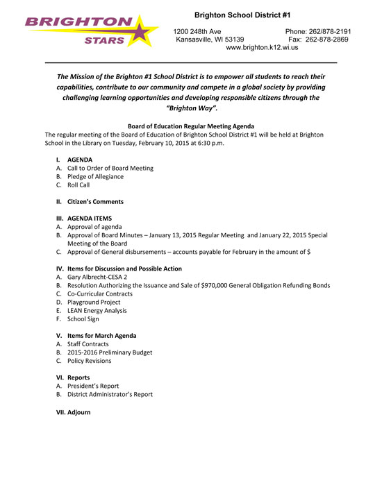 Sponsored Post Brighton School Board Feb  Meeting Agenda  West