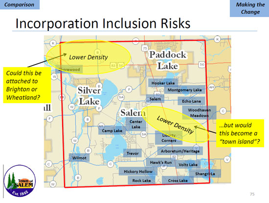 This slide from Monday's presentation shows areas of the current town that the committee felt might not be allowed to incorporate along with the rest of the town.