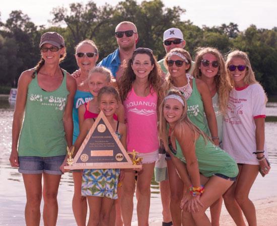 Members of the Aquanut 5Hi Human Pyramid accept the teamwork award. /Photo by Lisa Neal Photography