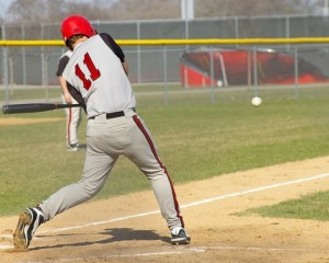 Wilmot's Jay Christian swinging against the Falcons. Dave Thoss photo