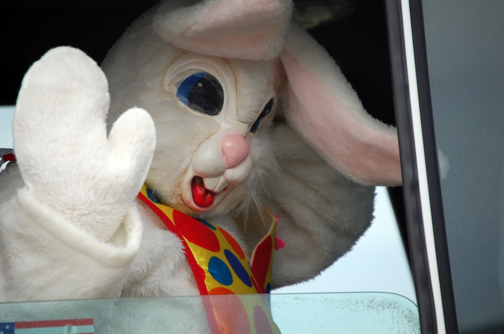 The Easter Bunny was brought in on a Salem Fire/Rescue truck.