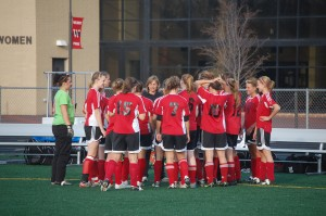 The Wilmot pre-game huddle.