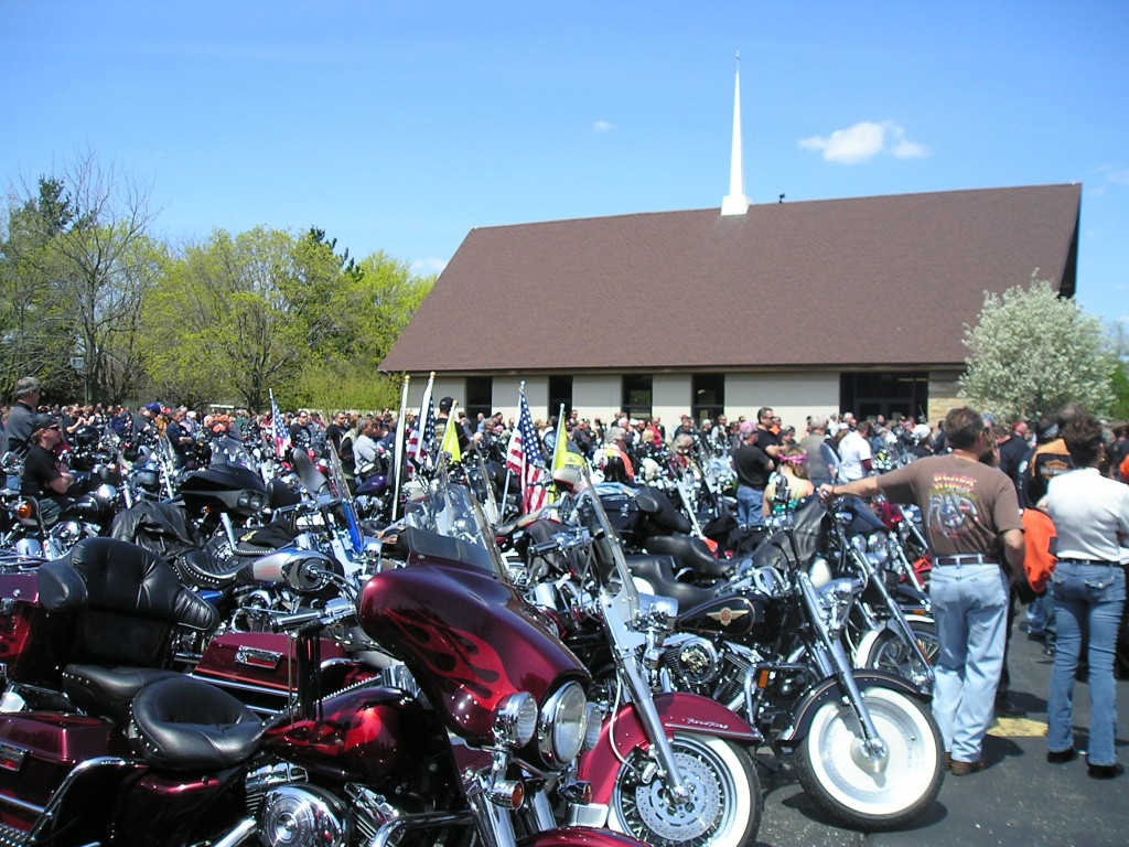 Here's a photo of the bikes packed in at Calvary Congregational Church in Twin Lakes, where the blessing took place. Photo by Juddie Brandes.