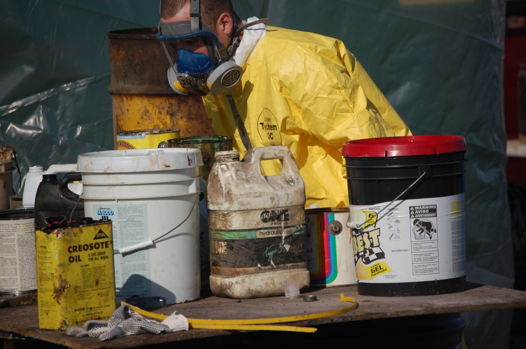 A worker looks over some of the material gathered in Bristol Saturday morning.