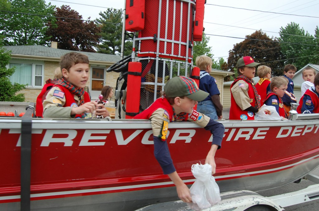 A fire department boat on land made for a unique ride for these Scouts.