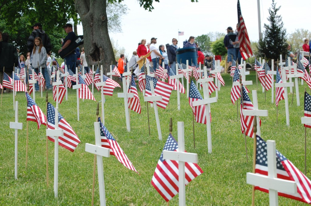 These crosses placed outside the Legion Hall represent the 93 Wisconsin residents that have died in the wars in Iraq and Afghanistan.