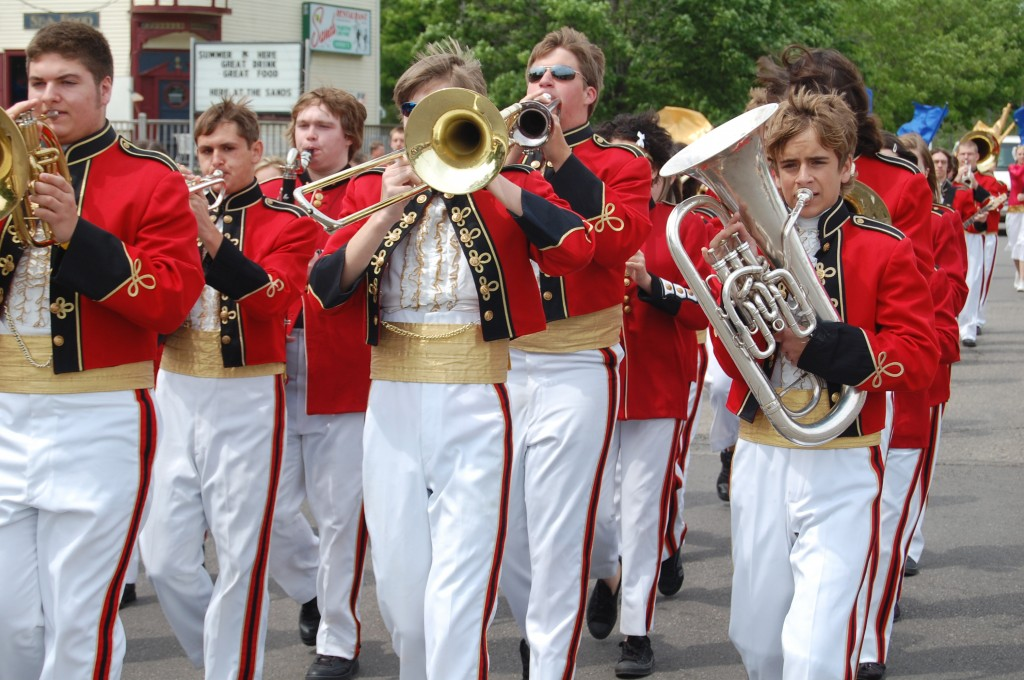 The Wilmot High School Marching Band, fresh from a trip to Canada, played first at the Silver Lake parade and then hustled over to Twin Lakes to play in the parade and ceremony there.
