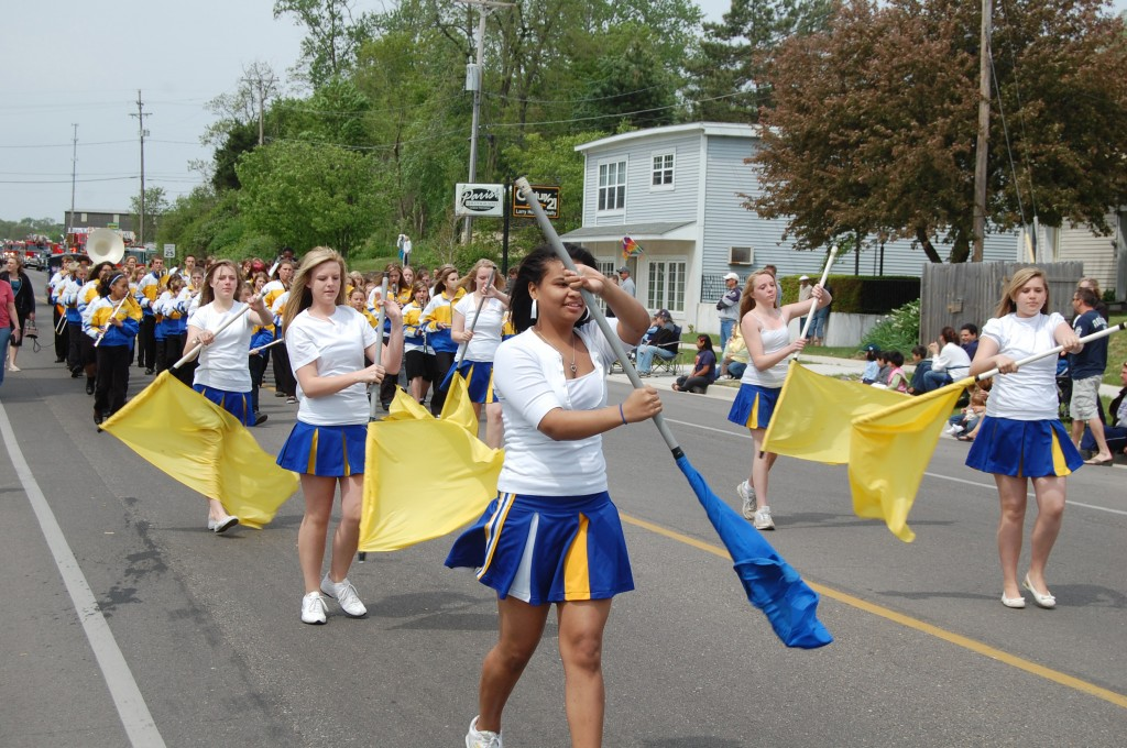 The Lakewood School Marching band and Color Guard.