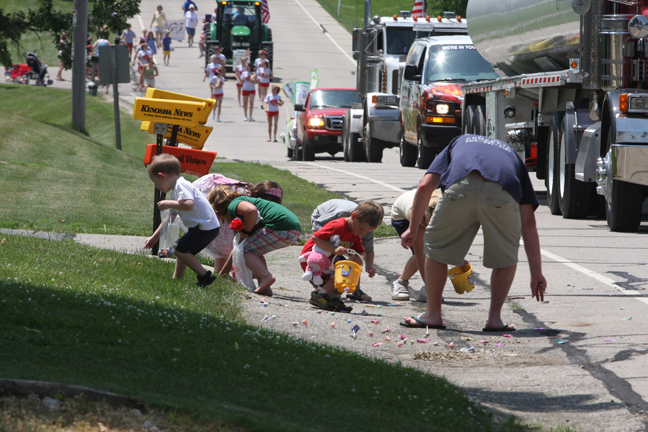 Candy throwing was encouraged by parade organizers and this photo shows those in the parade got the memo.