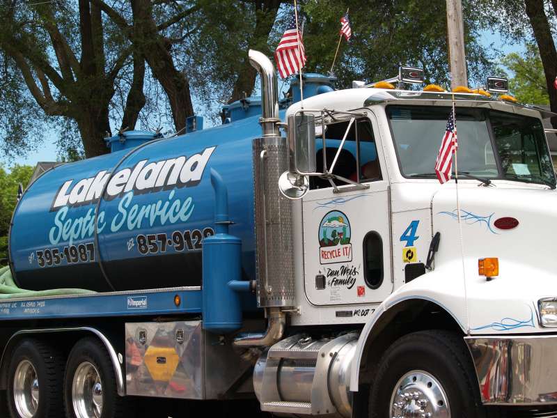 """This Lakeland Septic Service """"honey wagon"""" was part of the company's entry. Lakeland, based in Bristol, is a Progress Days Parade regular."""