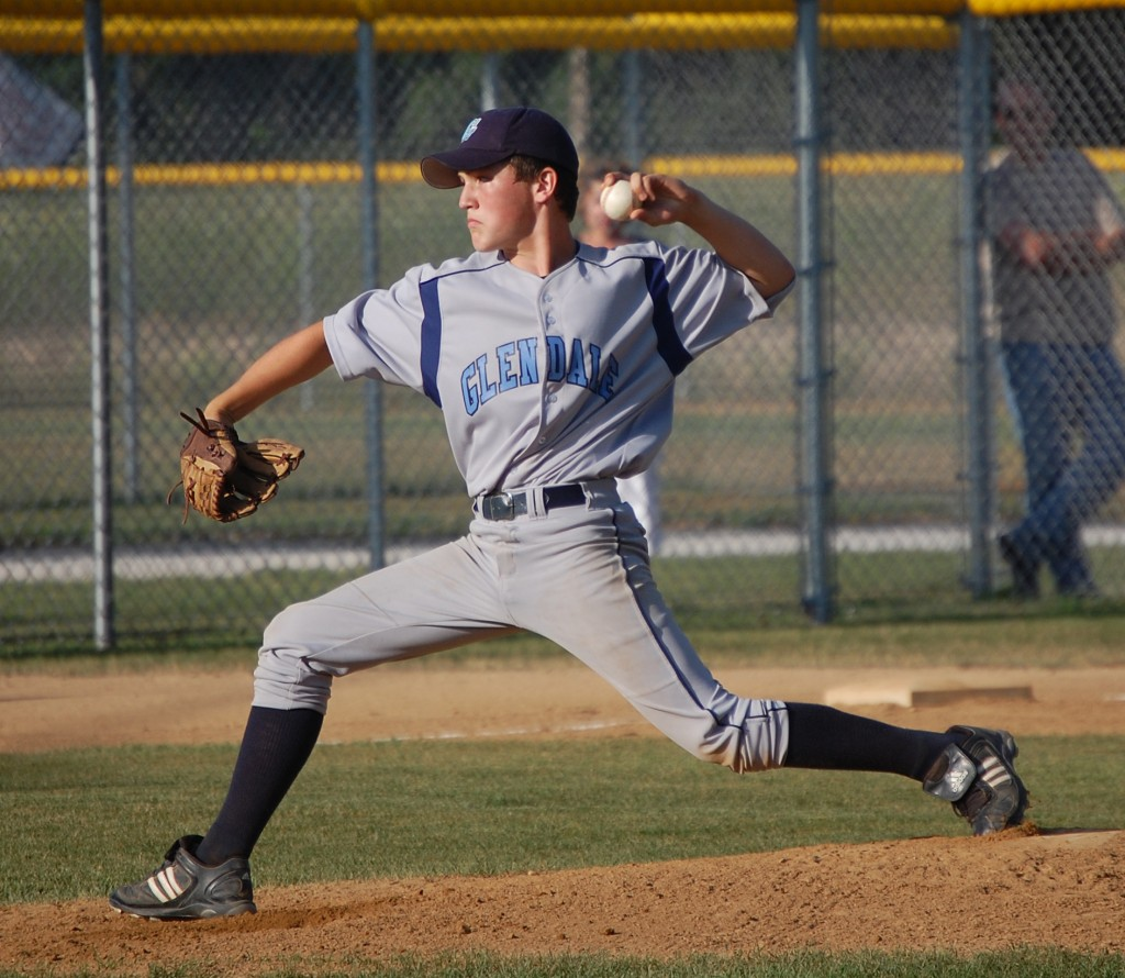 The Glendale pitcher hurls a pitch toward home plate.