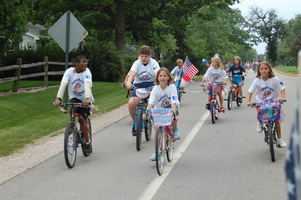 Peddling along the route from McAlonan Park to Village Hall.
