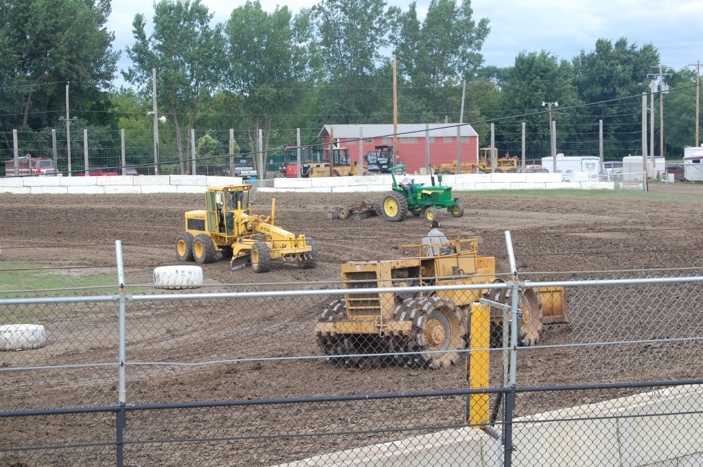 Work was underway this afternoon at the Wilmot Raceway in preparation for tonight's racing program.