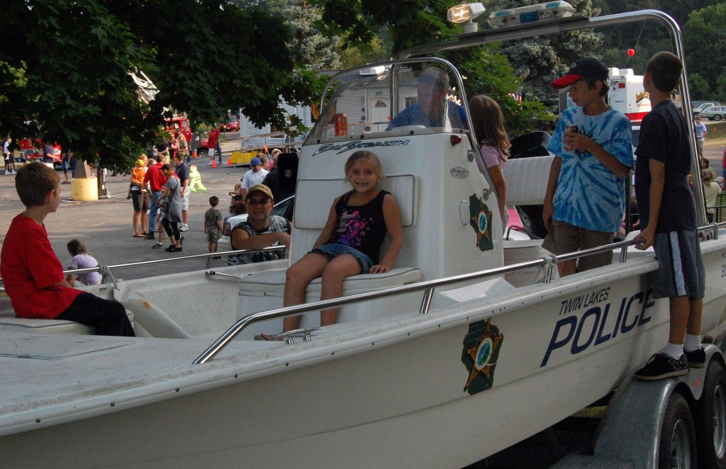 Youngsters could get a good look at the boat the Twin Lakes Police Department uses to patrol Lake Mary.