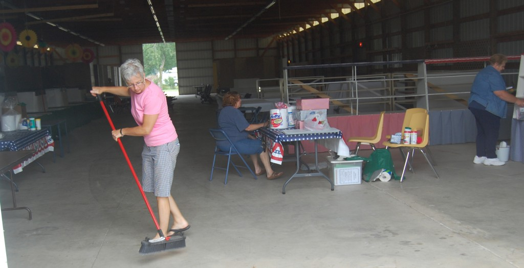 Preparations at the Open Class Building included a good sweeping out.