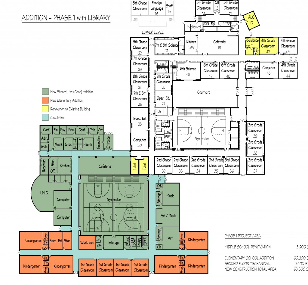 This plan from Bray Architects shows the footprint of the propsoed addition to Trevor School and where classes would be located. (Click image for larger view)