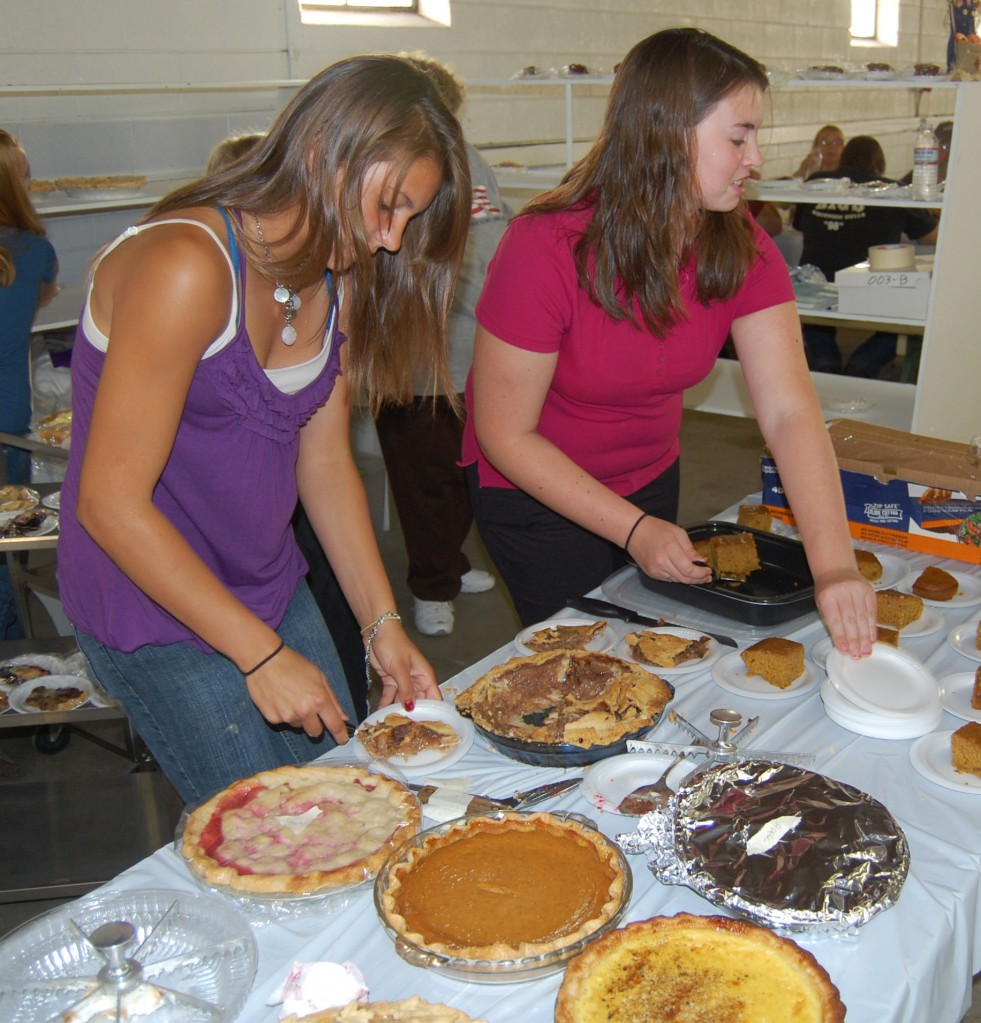 Sarah Fonk and Cassie Krikau dished out donated homemade pies and cakes.