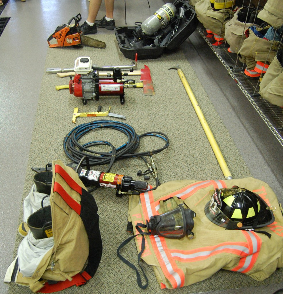 Gear used by the department's firefighters was on display.