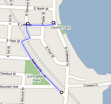 This Google Maps view shows the route of the detour around the Cogswell Drive railroad crossing repair work next week.