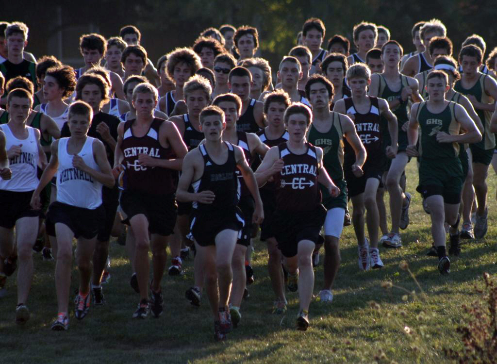 The start of the boys varsity race at the Franklin Invite.