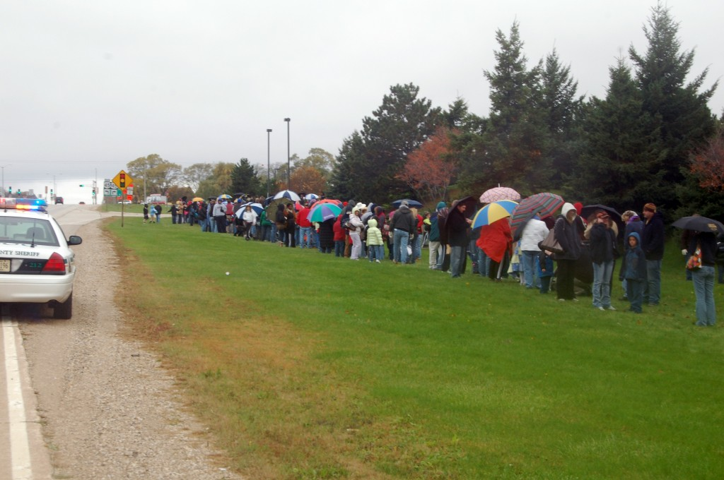 The line for H1N1 vaccine at the County Center Satruday morning extended east down Highway 50.