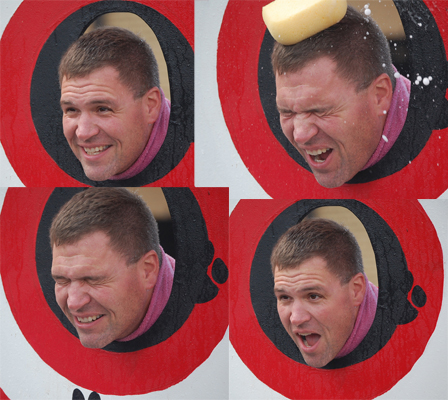 """Perhaps the most popular target at teh sponge toss was ultimate school authority figure Roger Gahart, district administrator. Gahart kept up a steady banter  with his young tormenters, including  qwips such as; """"You throw like Brett Favre. Be nice to your old principal. I saw you play t-ball; I'm scarred. You're gonna want to graduate from here someday; I get to signb that diploma."""""""