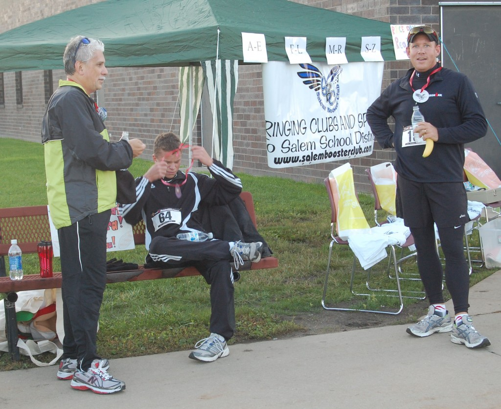 Some of the first finishers regroup and compare notes.