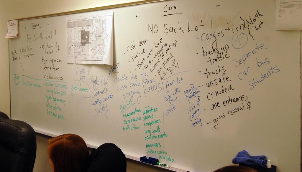 The whiteboard in the Wheatland Center School board room still was covered Tuesday with the ideas brainstromed about the bus/car drop-off/pick-up issue by a committee of parents, bus drivers administrators and School Board member Troy Bruley.