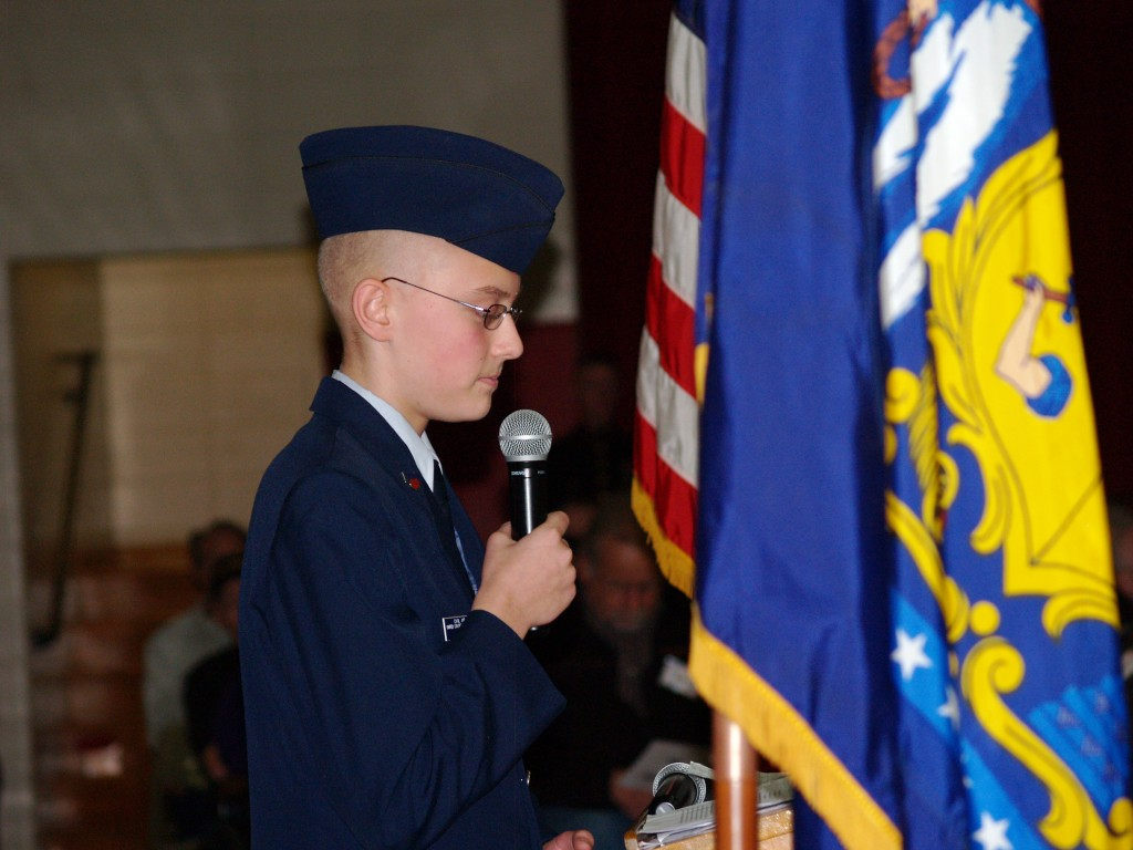 Max Tracey Sr. Airman of the Civil Air Patrol gives speech to students and veterans