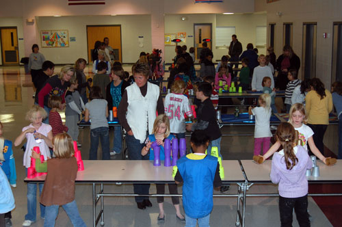 Students sport stack away at Salem School Thursday evening.