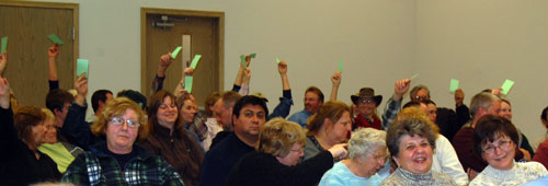 Electors present at Salem Town Hall Tuesday night vote on the 2010 tax levy.