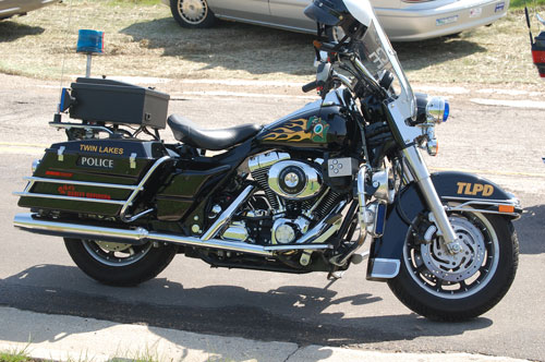 The Twin Lakes Police Department motorcycle helped lead the procession at a bike blessing earlier this year.