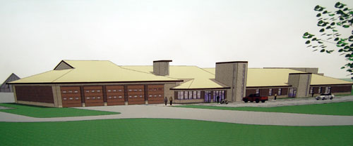 A rendering of the exterior of the new fire station/public works facility.