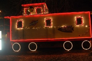 The caboose next to the Twin Lakes Area Chamber and Business Association office has been decked out in holiday lights.