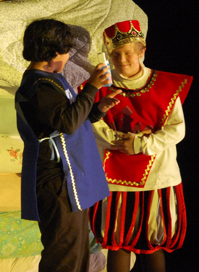 The guard, played by Efron Gomez, tells King Jasper, played by Nick Hanson that he has some Tums. The reoccuring line was delivered several times during The Princess and the Pea by Gomez to the audience's amusement each time.