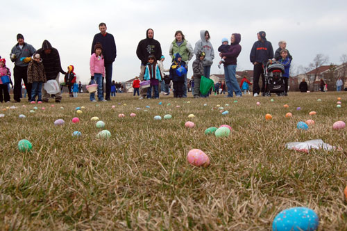 Eggs await their chance to be scooped up by hunters at the Westosha Kiwanis Club Easter Egg Hunt at Salem School.