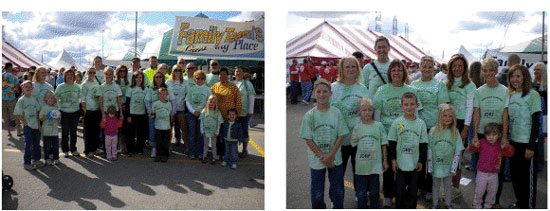 Anthony and his group of friends and family, left, and Paris School staffers, right. /Submitted photos