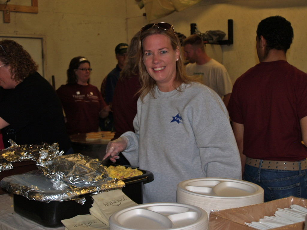 Representative Samantha Kerkman serves up scrambled eggs