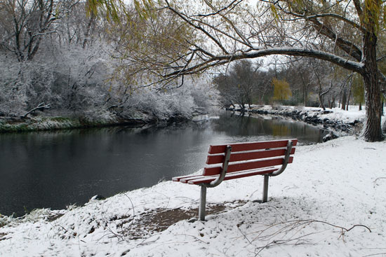 Yesterday's snowfall at the Fox River County Park launch. /Earlene Frederick photo