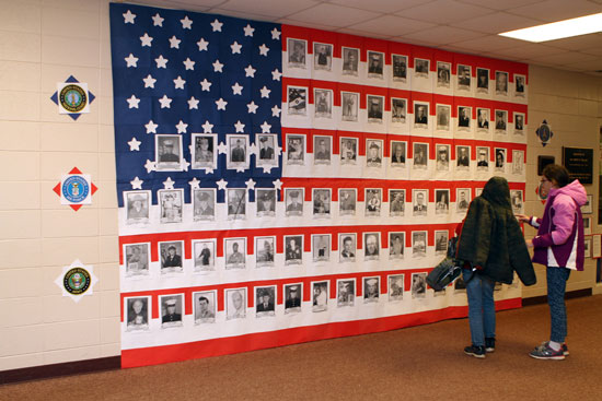 This display honored veterans with connections to students and staff. /Earlene Frederick photo
